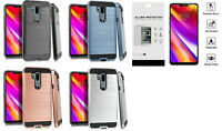 For LG G7 G7+ ThinQ /G7 One /G7 Fit / Judy Metallic Case Cover + Tempered Glass