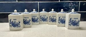 Epiag Czech Lot of 7 Blue & White Porcelain Kitchen Spice Canisters