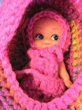 DOLL CRADLE PURSE removable white cupie doll~blue eyes~clothes-FUCHSIA crochet