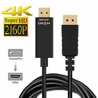 4K Displayport Display Port DP to HDMI Cable Adapter Full HD High Speed 6FT/15cm