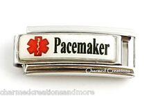 Pacemaker Heart Condition Caduceus Medical Alert ID 9mm Italian Charm Superlink