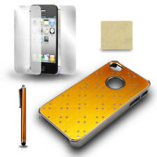 For iPhone 4 4S Yellow Chrome Protective Case Cover + Screen Film + Stylus Pen
