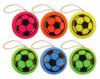 6 Mini Pocket Football Yo-Yos - 38mm Pinata Toy Loot/Party Bag Fillers Kids