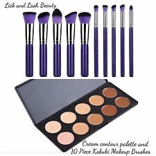 Pro Cream Contour And Highlight Palette And 10 Piece Pro Kabuki Makeup Brushes