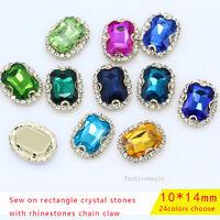 15p 10x14mm color Octagon sew on stitch jewel Gems crystal rhinestone trim Beads