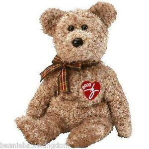 Ty Beanie Baby * 2002 SIGNATURE - Shaggy Brown tartan ribbon * Teddy Bear 04565
