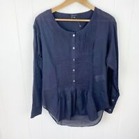 Theory Pintuck Popover Top Navy Blue Long Sleeve Cotton Az S Small Womens L40