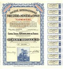 Societe Internationale Forestiere & Miniere du Congo Bond Certificate