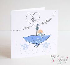 BABY SHOWER Card For Baby Boy - New Baby - Pregnancy Cute Blue