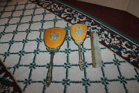 Vintage Victorian Art Deco Vanity Set-Mirror Brush Comb-Gilded Gold Handles-LQQK