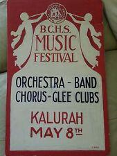 B.C.H.S. Music Festival Kalurah Nulla Signed Vestidia Poster original