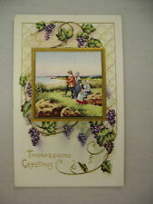 VINTAGE THANKSGIVING POSTCARD PILGRIMS AT THE SHORE WITH GRAPE VINES UNUSED
