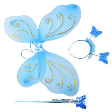 Girls Fairy Costume Butterfly Wings Wand Princess Headband Beauty E5Y