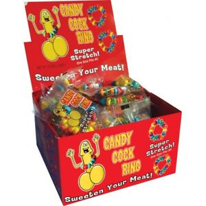 50 Candy Cock Rings w/ Display Pride Party Bachelorette Gift Adult Pinata POS
