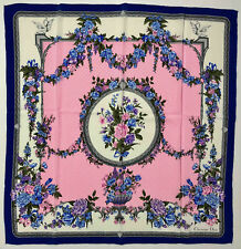 CHRISTIAN DIOR PARIS VINTAGE '70 Foulard Seta Grande Fiorato Flower Silk Scarf