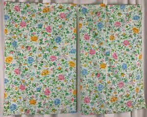 Vtg JC Penney 2 Juliet Floral Pillowcases Set Standard Size Pillow Case Pair USA
