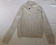 "MENS L BEIGE WHITE CHUNKY KNIT BUTTON COLLARED JUMPER CHEST 44"" 112cm"