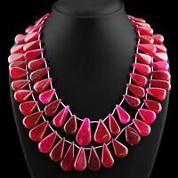 GENUINE 1054.50 CTS EARTH MINED 2 STRAND PEAR SHAPE RICH RED RUBY BEADS NECKLACE