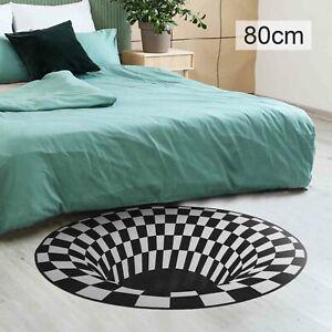 3D Floor Printed Round Vortex Illusion Pattern Anti-slip Carpet Door Mat Rug
