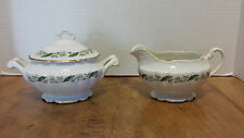 Old Charleston Sugar Bowl & Creamer Vogue Fine China Garland Magnolia gold trim