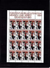 Liechtenstein Series courantes l'homme et le travail 1,5f r feuille 20 TP n° 801
