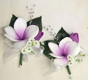 Silk wedding bouquet white purple latex frangipani corsage flowers corsages x 2