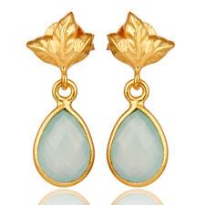 Aqua Chalcedony Dangle Earrings Silver Handmade Jewelry - 18K Gold Plated