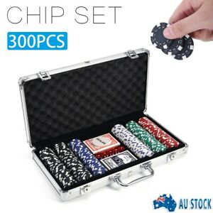 300/500Pcs Casino Size Chips Poker Set Gambling Party Game Cards Dice W/ Case