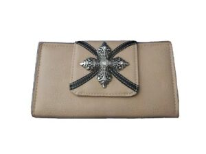 P&G Collection Leather Wallet Clutch Purse - SILVER Cross Bling Embroidery