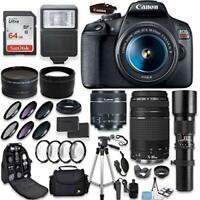 Canon EOS Rebel T7 DSLR Camera + (5) Lenses + 64GB Memory + Accessory Kit