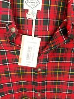 NWT St Johns Bay Men long sleeve Flannel Shirt XL Plaid Red/Black buffalo Brawny