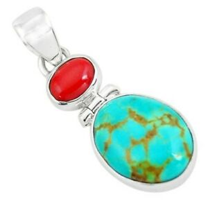 8.70cts Natural Blue Kingman Turquoise Coral 925 Sterling Silver Pendant P65283