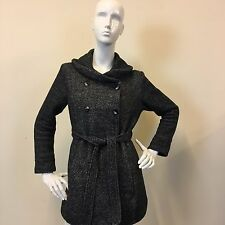 New Look Ladies Grey Marl Maternity Tie Waist Shawl Collar Button Coat UK Size 8