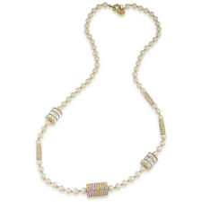$175 Carolee Lux LIFE OF THE PARTY Faux Pearl Pave Rondelle Rope Long Necklace