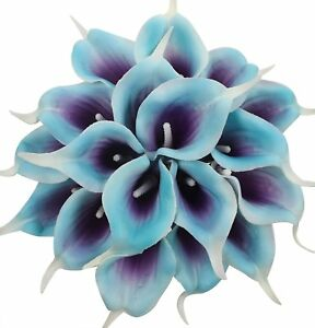 20Pcs Calla Lily Bridal Wedding Bouquet Real Touch Artificial Flower Purple Blue