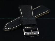 NEW AUTHENTIC Glycine 24MM High Grade XS Black Fabric Strap W/ Signed SS Buckle