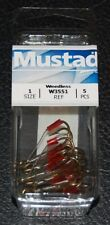5 Pack Mustad W3551-01 Size 1 Bronze Weedless Treble Hooks Weed Guard