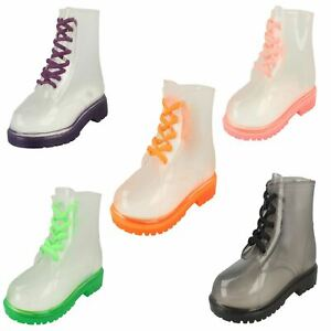 Girls Spot On Lace Up Jelly Boot With Low Heel And Rounded Toe
