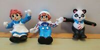 """Raggedy Ann Andy Panda PVC sitting toy figurines /Toppers 1988 2-1/2""""SHIPS FREE"""