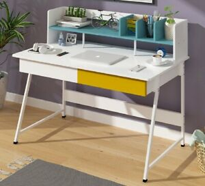 120cm Computer Desk Dressing Table Home Office Laptop with 2 Drawers Metal Legs