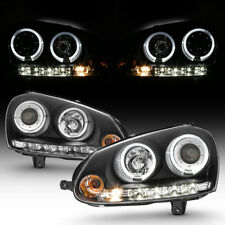 Black 2006-2009 VW GTI Jetta Rabbit LED Halo Projector Headlights w/ DRL Lights