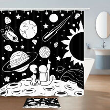 Astronauts and Aliens Shower Curtain Bathroom Decor Fabric & 12hook 71 In