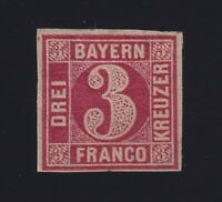 Germany Bavaria Sc #10 (1862) 3kr rose Numeral Broken Circle Unused