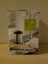 Simple Human 1.5L Countertop Trash Can Stainless Steel Swing Lift Off Lid NEW