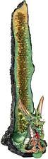 "Green Dragon Geode Incense Burner - Polyresin / 10"""