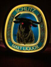 Vintage 1976 Schlitz Malt Liquor 3-D Light up Bull Advertising beer Bar Sign
