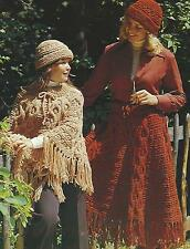 Poncho Skirt Hat Knitting Pattern Ladies and Childs Chunky Retro 562