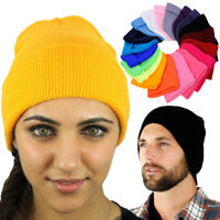 Unisex Beanie Hats For Women Men Solid Color Long Knit Plain Cuff Skull Ski Hat