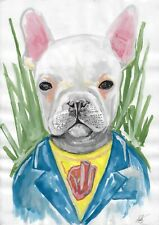 original drawing A3 202-X art by samovar watercolor dog Signed 2020