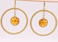 Filigree Round Citrine CZ Drop Dangle Earrings 14K Yellow Gold Clad Silver QVC